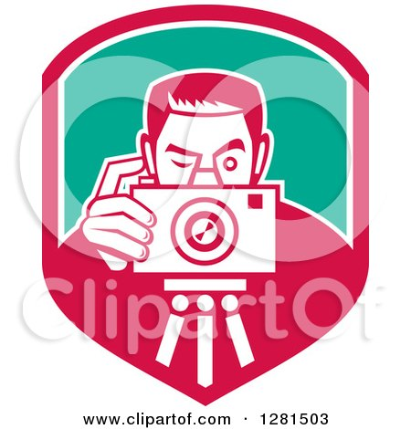 Clipart of a Retro Male Photographer Taking Pictures on a Tripod in a Pink White and Turquoise Shield - Royalty Free Vector Illustration by patrimonio