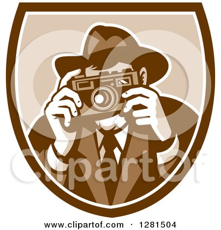 Clipart of a Retro Male Photographer or Detective Taking Pictures in a Brown and White Shield - Royalty Free Vector Illustration by patrimonio