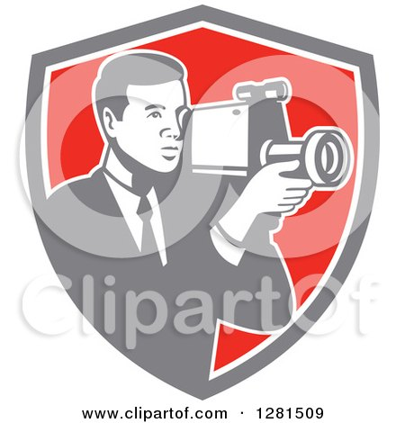 Clipart of a Retro Professional Cameraman Filming in a Gray White and Red Shield - Royalty Free Vector Illustration by patrimonio
