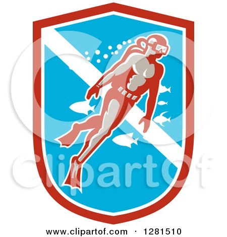 Clipart of a Retro Male Scuba Diver with Fish in a Red White and Blue Shield - Royalty Free Vector Illustration by patrimonio