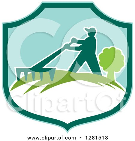 Clipart of a Silhouetted Gardener Raking in a Turquoise and Green Shield - Royalty Free Vector Illustration by patrimonio