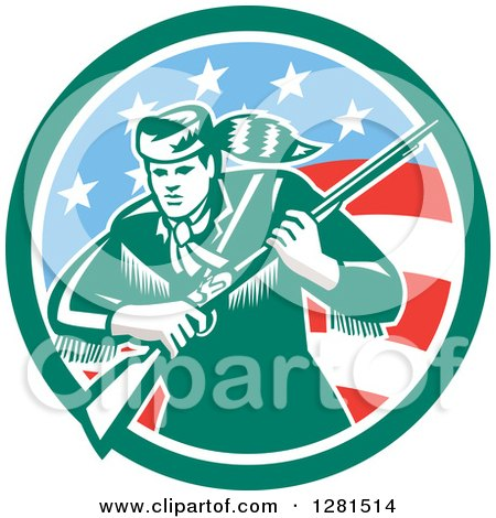 Clipart of a Retro American Frontiersman, Daniel Boone, Holding a Rifle in a Green and American Circle - Royalty Free Vector Illustration by patrimonio