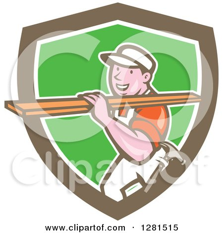 Clipart of a Retro Cartoon Male Carpenter Carrying Lumber in a Brown White and Green Shield - Royalty Free Vector Illustration by patrimonio