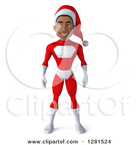 Clipart of a 3d Young Black Male Christmas Super Hero Santa - Royalty Free Illustration by Julos