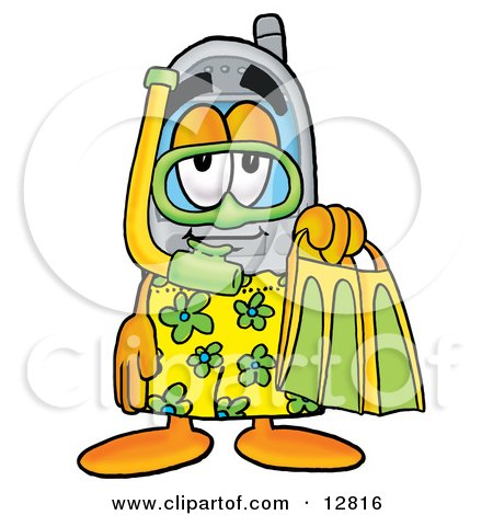 Clipart Picture of a Wireless Cellular Telephone Mascot Cartoon Character in Green and Yellow Snorkel Gear by Toons4Biz