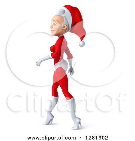 Clipart of a 3d Young White Female Christmas Super Hero Santa Walking to the Left - Royalty Free Illustration by Julos