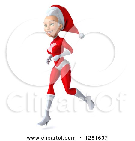 Clipart of a 3d Young White Female Christmas Super Hero Santa Running to the Left - Royalty Free Illustration by Julos