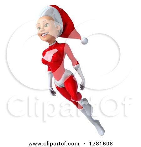 Clipart of a 3d Young White Female Christmas Super Hero Santa Flying to the Left - Royalty Free Illustration by Julos