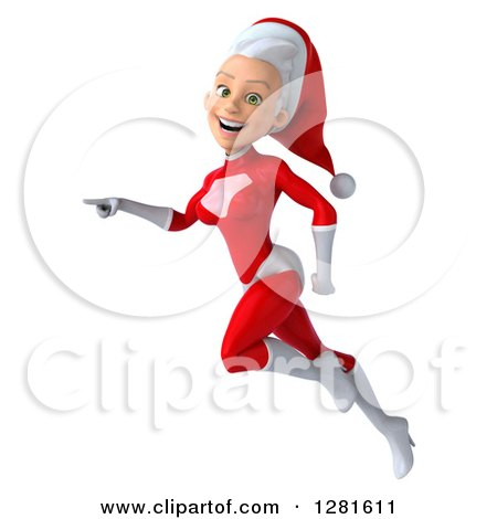 Clipart of a 3d Young White Female Christmas Super Hero Santa Flying to the Left and Pointing - Royalty Free Illustration by Julos