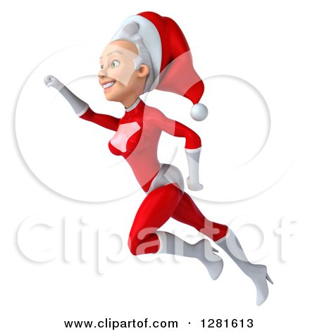 Clipart of a 3d Young White Female Christmas Super Hero Santa Flying to the Left with Her Arm up - Royalty Free Illustration by Julos