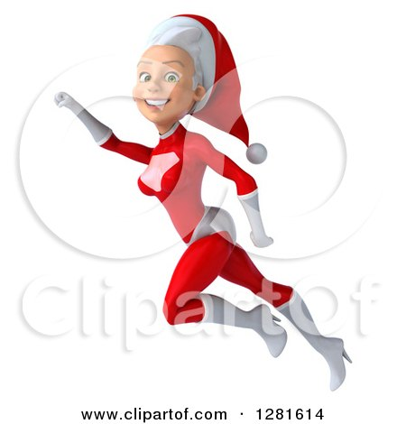 Clipart of a 3d Young White Female Christmas Super Hero Santa Smiling and Flying to the Left with Her Arm up - Royalty Free Illustration by Julos