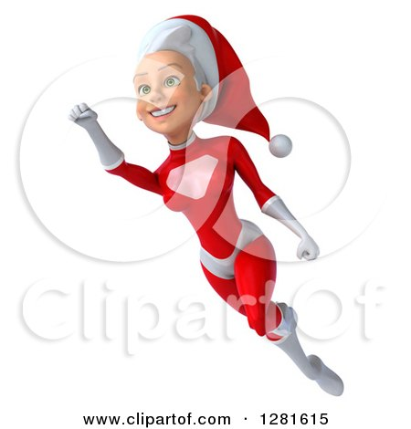 Clipart of a 3d Young White Female Christmas Super Hero Santa Flying to the Left with One Arm up - Royalty Free Illustration by Julos