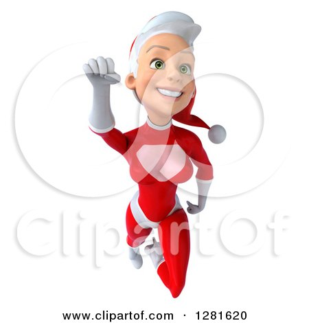 Clipart of a 3d Young White Female Christmas Super Hero Santa Flying - Royalty Free Illustration by Julos