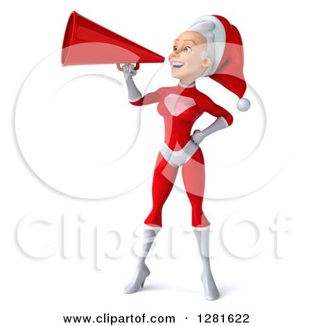 Clipart of a 3d Young White Female Christmas Super Hero Santa Announcing with a Megaphone - Royalty Free Illustration by Julos
