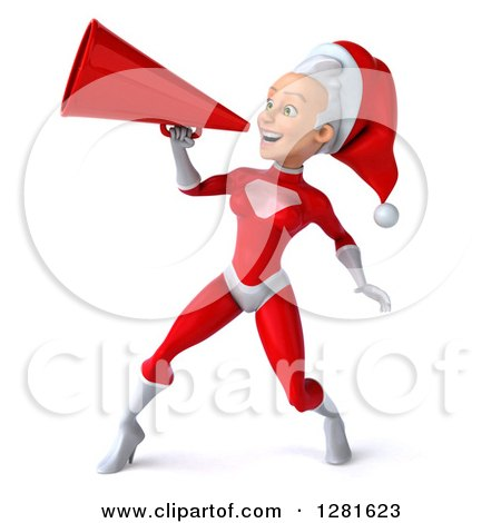 Clipart of a 3d Young White Female Christmas Super Hero Santa Facing Left and Announcing with a Megaphone - Royalty Free Illustration by Julos