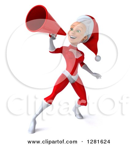 Clipart of a 3d Young White Female Christmas Super Hero Santa Facing Left and Announcing Upwards with a Megaphone - Royalty Free Illustration by Julos