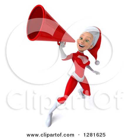 Clipart of a 3d Young White Female Christmas Super Hero Santa Announcing Upwards with a Megaphone - Royalty Free Illustration by Julos