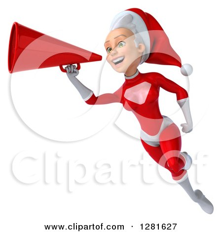 Clipart of a 3d Young White Female Christmas Super Hero Santa Flying and Announcing with a Megaphone - Royalty Free Illustration by Julos