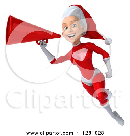 Clipart of a 3d Young White Female Christmas Super Hero Santa Flying, Smiling and Announcing with a Megaphone - Royalty Free Illustration by Julos