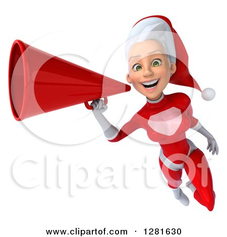 Clipart of a 3d Young White Female Christmas Super Hero Santa Flying Slightly Left, Smiling and Announcing with a Megaphone - Royalty Free Illustration by Julos