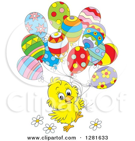 Clipart of a Cute Yellow Easter or Spring Time Chick with Flowers and Patterned Party Balloons - Royalty Free Vector Illustration by Alex Bannykh
