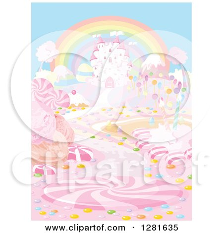 Clipart of a Rainbow over a Fairy Tale Castle and Candy Land - Royalty Free Vector Illustration by Pushkin