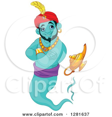 Clipart of a Handsome Turquoise Male Jinn Genie Emerging from His Lamp and Smiling - Royalty Free Vector Illustration by Pushkin