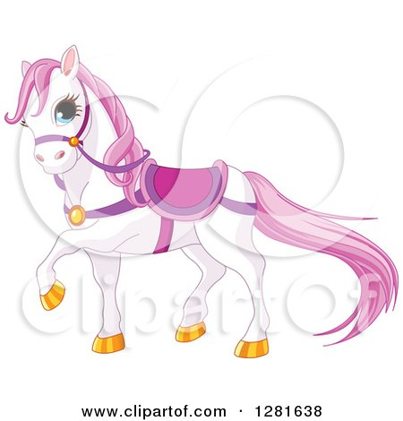 Clipart of a Cute White and Pink Horse Wearing a Saddle and Prancing - Royalty Free Vector Illustration by Pushkin