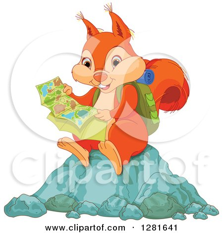 Clipart of a Cute Orange Squirrel Hiker Reading a Map and Sitting on a Rock - Royalty Free Vector Illustration by Pushkin