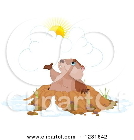 Clipart of a Cute Groundhog Emerging from a Hole and Presenting the Sun - Royalty Free Vector Illustration by Pushkin