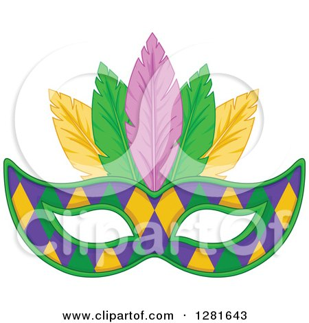 Clipart of a Purple Green and Yellow Diamond Patterned Mardi Gras Mask with Feathers - Royalty Free Vector Illustration by Pushkin