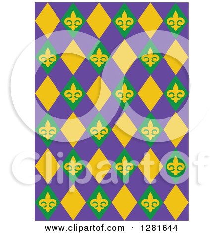 Clipart of a Purple Green and Yellow Fleur De Lis and Diamond Mardi Gras Background Pattern - Royalty Free Vector Illustration by Pushkin