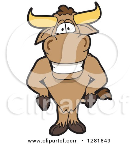 Clipart of a Happy Bull School Mascot Character with His Hands on His Hips - Royalty Free Vector Illustration by Toons4Biz