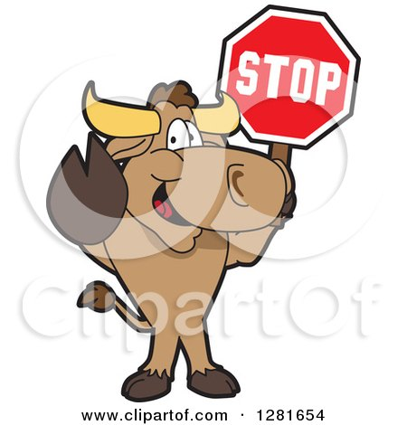 Clipart of a Happy Bull School Mascot Character Standing and Holding a Stop Sign - Royalty Free Vector Illustration by Toons4Biz