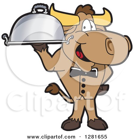 Clipart of a Happy Bull School Mascot Character Waiter Standing with a Cloche Platter - Royalty Free Vector Illustration by Toons4Biz