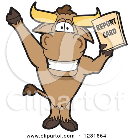 Clipart of a Happy Bull School Mascot Character Standing, Cheering and Holding a Report Card - Royalty Free Vector Illustration by Toons4Biz