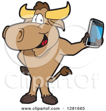 Clipart of a Happy Bull School Mascot Character Standing and Holding a Smart Cell Phone - Royalty Free Vector Illustration by Toons4Biz