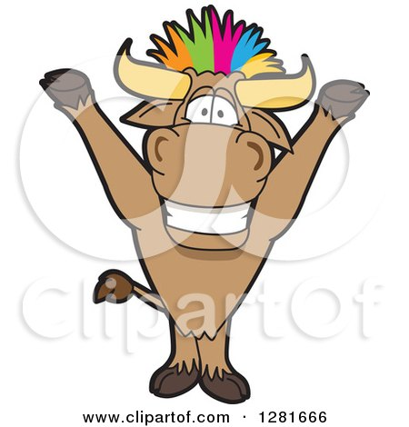 Clipart of a Happy Bull School Mascot Character Cheering with Colorful Punk Hair - Royalty Free Vector Illustration by Toons4Biz