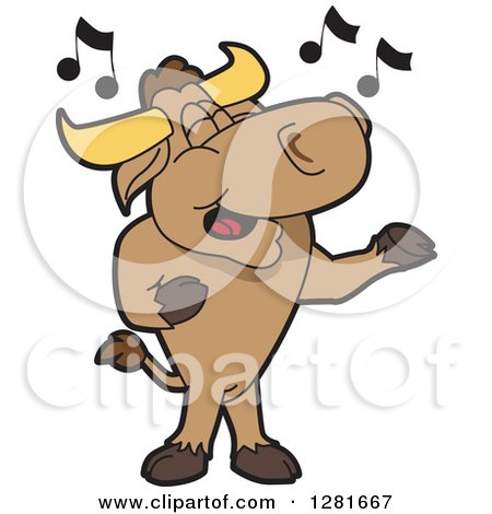 Clipart of a Happy Bull School Mascot Character Standing and Singing - Royalty Free Vector Illustration by Toons4Biz