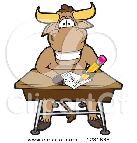 Clipart of a Happy Bull School Mascot Character Writing at a Desk - Royalty Free Vector Illustration by Toons4Biz