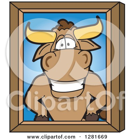 Clipart of a Happy Bull School Mascot Character Portrait - Royalty Free Vector Illustration by Toons4Biz