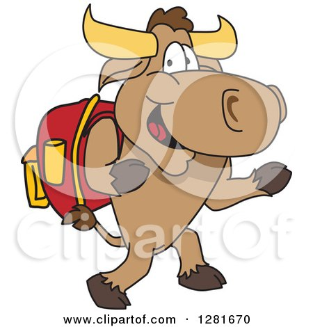 Clipart of a Happy Bull School Mascot Character Student Walking Upright - Royalty Free Vector Illustration by Toons4Biz