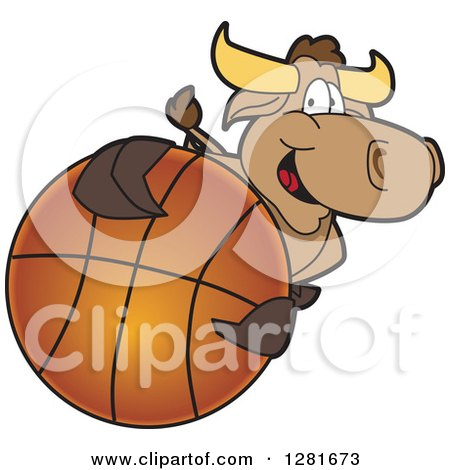 Clipart of a Happy Bull School Mascot Character Holding up or Catching a Basketball - Royalty Free Vector Illustration by Toons4Biz