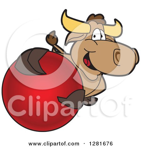 Clipart of a Happy Bull School Mascot Character Holding up or Catching a Red Ball - Royalty Free Vector Illustration by Toons4Biz