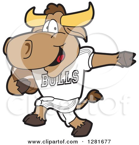 Clipart of a Happy Bull School Mascot Character Athlete Playing Football - Royalty Free Vector Illustration by Toons4Biz