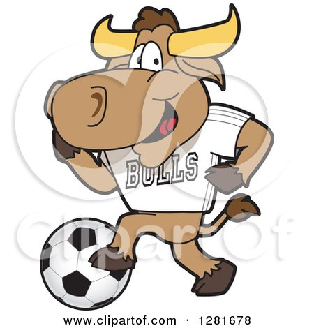Clipart of a Happy Bull School Mascot Character Athlete Playing Soccer - Royalty Free Vector Illustration by Toons4Biz