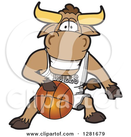 Clipart of a Happy Bull School Mascot Character Athlete Playing Basketball - Royalty Free Vector Illustration by Toons4Biz