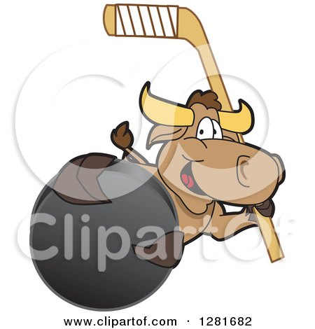 Clipart of a Happy Bull School Mascot Character Holding an Ice Hockey Stick and Puck - Royalty Free Vector Illustration by Toons4Biz