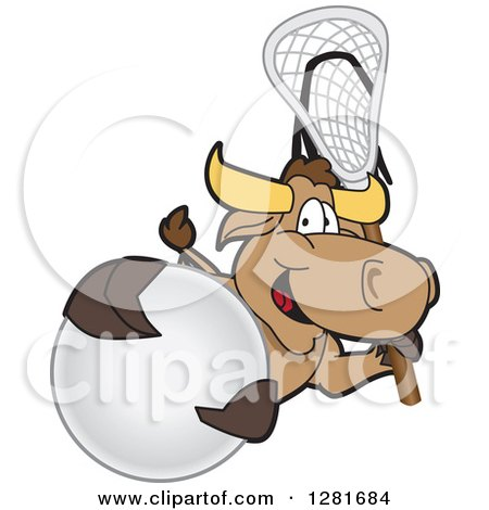 Clipart of a Happy Bull School Mascot Character Holding a Lacrosse Stick and Ball - Royalty Free Vector Illustration by Toons4Biz