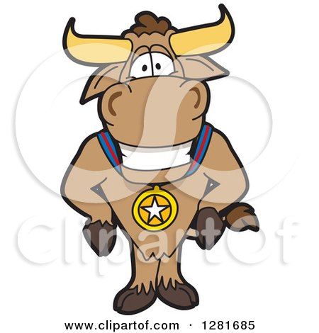 Clipart of a Happy Bull School Mascot Character Standing and Wearing a Sports Medal - Royalty Free Vector Illustration by Toons4Biz